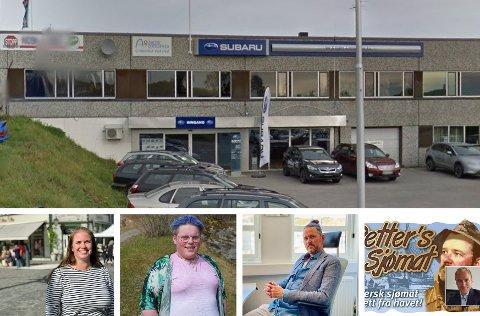NYE BEDRIFTER: Harstad Auto AS skal flytte inn i Storåkeren 9. Daglig leder er Bård Sørensen, som slutter på Sulland for å satse på egen bedrift med kjøp og salg av biler. Bildene under, fra venstre: Linn K. Hvattum, Jaran Skardal, Trond Dahle og Petters Sjømat (konkurs) ved styreleder Finn Håkon Jørstad.