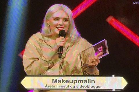 Vinner: Makeup Malin ble kåret til årets livsstil og videoblogger under Gullsnutten på NRK lørdag. skjermdump: NRK