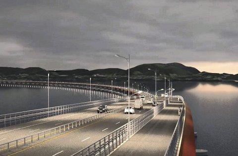 Hordfast og ferjefri E39 inkluderer planar om bru med fire felt over Bjørnefjorden. Illustrasjon: Statens Vegvesen.