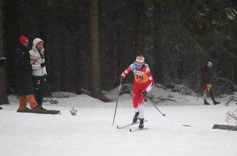 UFLAKS: Karoline Simpson-Larsen hadde ikke de beste skiene på den første konkurransen på U23-VM:  FOTO: ERIK BORG