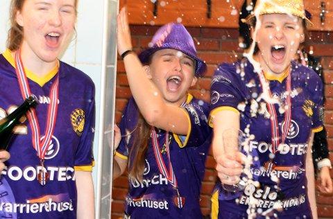 GULL OG SJAMPIS: Rikke Ingebrigtsli Hansen og resten av Tunet kunne sprette champagnen etter å blitt norgesmester for andre gang på rad.