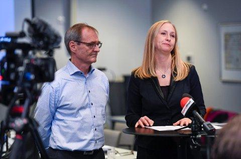 IKKE FORNØYD: Styreleder i Helse Nord, Renate Larsen, er ikke fornøyd med den siste tids forhold mellom UNN og Helse Nord. Her sammen med administrerende direktør Lars Vorland i Helse Nord.