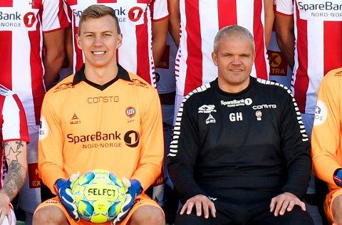 DEBUTANT: Gaute Ugelstad Helstrup (t.h.) gir Erlend Jacobsen (t.v.) sin første A-kamp som TIL-keeper borte mot Stjørdals-Blink lørdag.