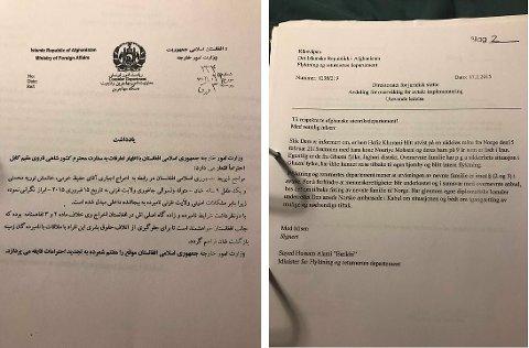 Som nevnt i teksten, sendte regj. i Afghanistan brev om familien. Det er oversatt fra dari til norsk.