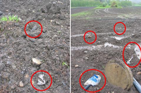 Slik så det ut på Smeby gård da Plan- og næringsenheten var på befaring etter melding om forsøpling ved legging av ny kloakktrase.