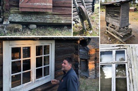SYNLIG FORFALL: Bilder fra Lands Museum viser litt av forfallet. Her også med Ove Røbergshagen som er leder av Lands Museumslag.