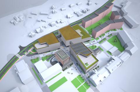 Illustrasjon: Slik kan en ny videregående skole i Ski sentrum se ut når den er ferdigstilt (fugleperspektiv). Illustrasjonen er hentet fra alternativ 3C i mulighettstudiet.