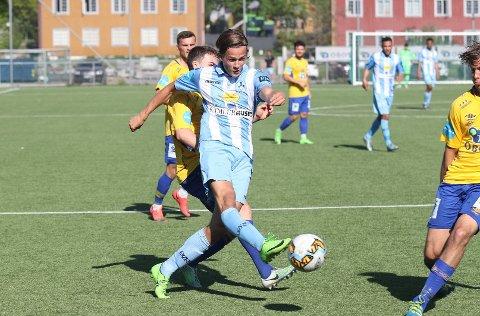 Henrik Udahl i aksjon for Follo mot Grorud i 2017. Nå blir det eliteserien på Eidsberg-gutten.
