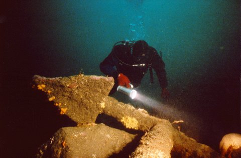 """MARIN ARKEOLOGI  Å komme over et gammelt skipsvrak på havets bunn er utvilsomt det mest spennende en dykker kan oppleve. Dette er en av kanonene ved vraket av det dansknorske marinefratøyet """"Charlotte Amalie,"""" som forliste ved Rakke i 1695. Foto: Yngve Rakke."""