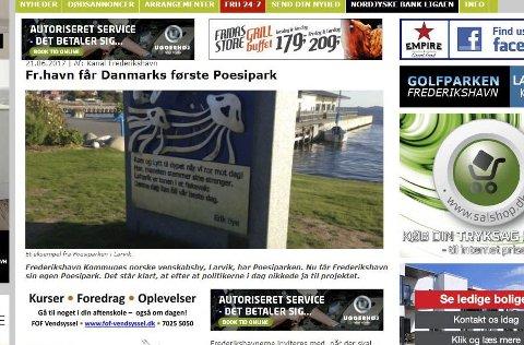 VEDTATT: Nå har Frederikshavn fått vedtaket om å etablere en Poesipark etter modell fra Larvik.