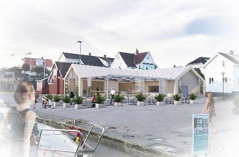 VIL BYGGE OM: Slik kunne det sett ut på Brygga Uteservering til sommeren, men prosjektet er nå satt på vent.