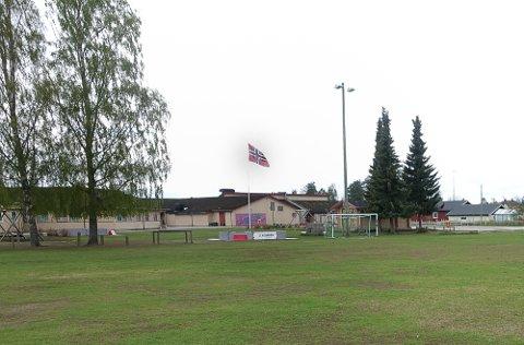 I DETTE OMRÅDET: Det er så langt ikke sagt noe om sted for den nye storskolen i Åsnes, men det er trolig at den skal bygges i dette området på Flisa. Flisa skole ser vi i bakgrunnen.