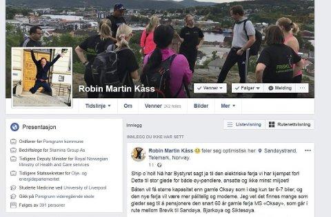 FACEBOOK-PROFIL: Ordfører Robin Kåss har drøyt 4700 venner på Facebook. Kontoen er et viktig politisk verktøy for Ap-toppen.