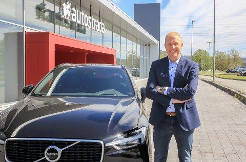 PÅ VEI INN: Brede Bomhoff, daglig leder i Autostrada Volvo, ankommer snart Porsgrunn by.