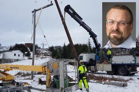 Helgeland Kraft har satt kriseberedskap og tilpasser hverdagen til den alvorlige pandemien. Daglig leder for Nett, Steinar Benum (innfelt) sier at de blant annet utsetter helikopterbefaring til høsten.