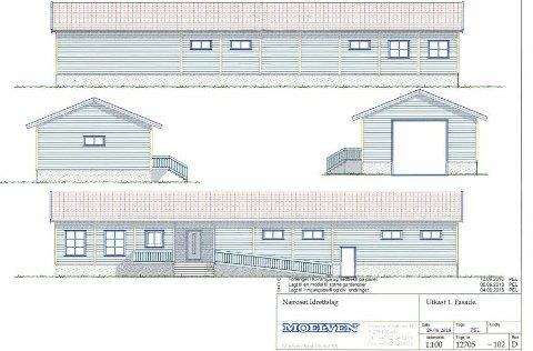 NYTT KLUBBHUS: Næroset IL satser på hjemmebane når de skal bygge nytt klubbhus ved hjelp av Moelven ByggModul. Skisser: Moelven ByggModul