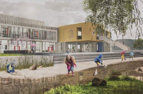 Slik kan den nye skolen på Benterud bli seende ut. Entreprenørfirmaet HENT vant anbudet med sitt forslag «Meanderrede».