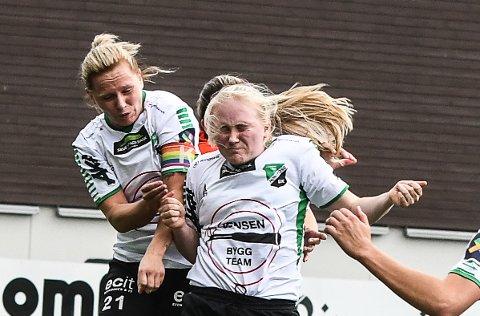 JOBBET: Silje Nyhagen og Martine Falkeid ga alt, men til ingen nytte i oppgjøret mot Grei!