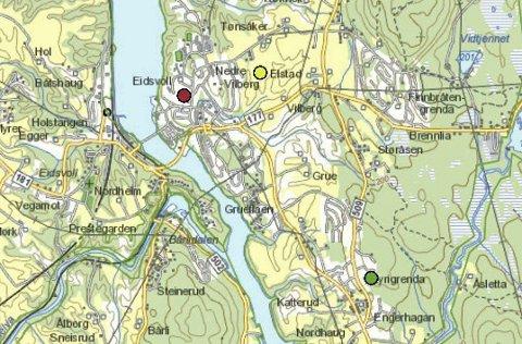 ALTERNATIVER: Trolldalen (grønt) og Tynsåk (gult). Nåværende Vilberg barneskole markert med rødt.RB-grafikk