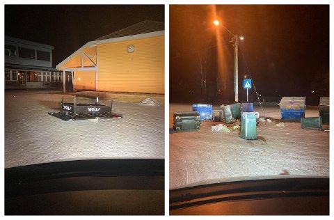 IKKE GREIT: Politi og vaktmester er ikke blide for det som skjedde ved Sande ungdomsskole søndag kveld.