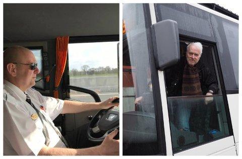 BEKYMRET: Bussbedrift-eierne Arne Johan Fossum (til venstre) og Jan Torbjørn Brandtsgård har tilbakelagt tolv tøffe måneder. Nylig demonstrerte de for bedre rammevilkår foran Stortinget.