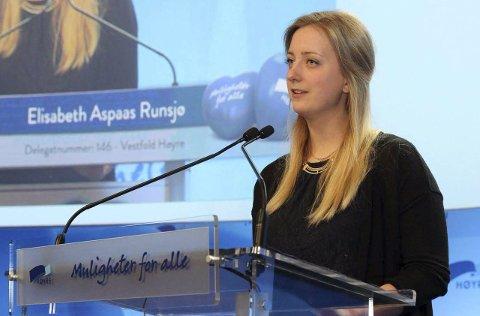 Argumenterte: Sandefjordingen Elisabeth Aspaas Runsjø fikk flertall for tre hjertesaker på landsmøtet til Høyre. Foto: Høyre