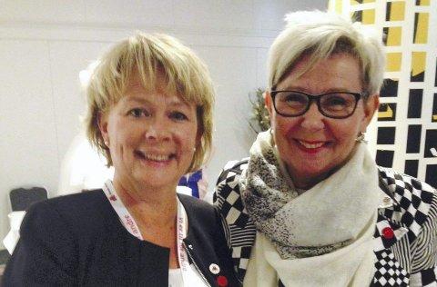 Valgt Til sentralstyret: Mona Nomme (t.v.) i Fjorden Sanitetsforening. Her med organisasjonsleder i NKS, Ellen-Sofie Egeland.