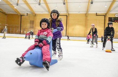 PRØVETUR: Endelig fikk barn, ungdom og voksne lov å prøve isen i den nye hallen. Heidi Reinoso Wollan (7) gir lillesøster Amanda (4) litt transporthjelp.  Det går så fort når jeg kan det. Og det er så lett, konstaterer Heidi, som liker å gå på skøyter i timevis.