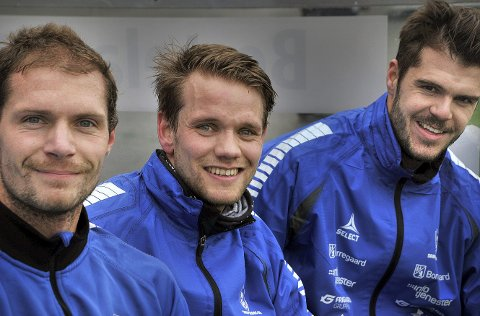 Sarpsborg 08, fra venstre: Joackim Jørgensen, Ole Jørgen Halvorsen og Joachim Thomassen