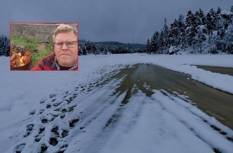 ISKJØRING: Gunnar Ruud advarte iskjørerne om at isen kunne være dårlig på sørenden av vannet.