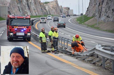 Askimingen Stein-Roger Gudmundsen var på vei til jobb i Oslo da han ble vitne til ulykke på E18. Han forstår ikke hvordan sjåføren kom fra smellen uten en skramme.
