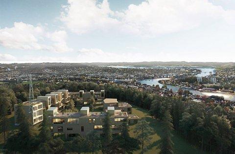 TIL SALGS: NRK-tomten er til salgs og ligger ute til 30 millioner kroner. Flere investorer har meldt seg på, både lokale og større aktører over østlandsområdet.  Tegningen viser hvordan det kan bli, fra mulighetsstudien til LPO Arkitekter.