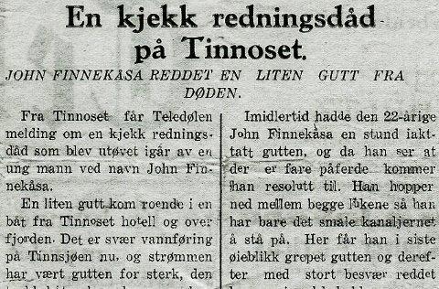 Avisutklipp fra Teledølen 1930.