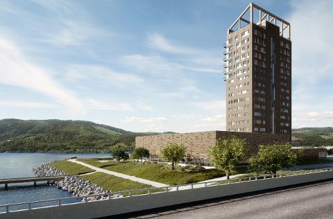 Slik vil Mjøstårnet ta seg ut når det står ferdig på nyåret 2019.
