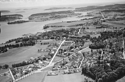 TEIE FØR KRIGEN: Historisk bilde av Teie veidele, tatt fra luften. Bildet er tatt ca 1938/1939. Legg merke til de flotte alleene av trær.