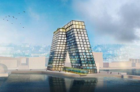 SPEKTAKULÆRT: Selskapet Eiendomsspar AS har flere skisser for et mulig hotell på sørsjeteen i Tromsø. Men det er på ingen måte sikkert at eiendomsselskapet får lov til å bygge.