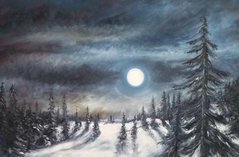 Fullmåne: Det er ofte mykje liv i bileta til Kristen, som her når fullmånen lyser opp eit vinterlandskap. Måleriet har han kalla Månelysets makt.
