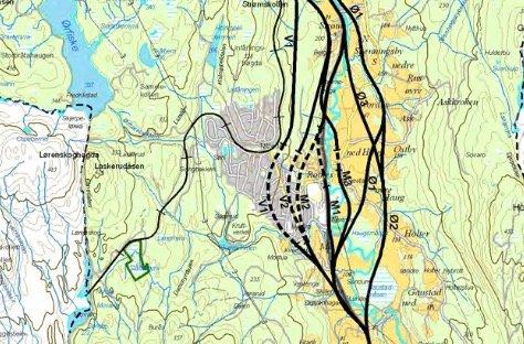 MANGEVEIERTILROTNES:Kart som viser alternative veilinjer gjennom Nittedal sentrum fra en såkalt silingsrapport som Statens vegvesen laget allerede i 2008.