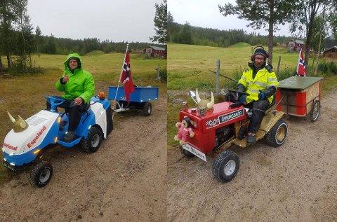 PÅ GRESSKLIPPER: Kompisene Sindre Mehlum (t.v)  og Ronny Bakken er på vei fra Tynset til Romedal på gressklipper. Her er de i nærheten av Jutulhogget.