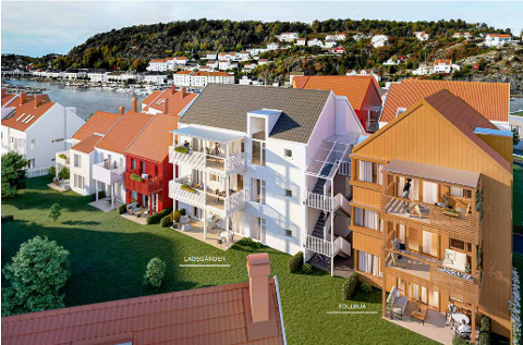 TO AV FIRE: Byggetrinn tre består av i alt fire bygg, med forskjellige navn. Her ser man Tollbua og Ladegården, som utbygger har valgt å kalle byggene. Bildet stammer fra utbyggers prospekt.
