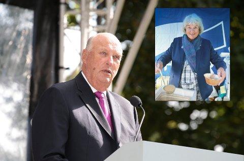 Kong Harald og dronning Sonja inviterer til hageselskap i Dronningparken. Agnete Tjærandsen fra Bodø var en av gjestene.