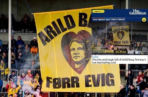 Storavis har skrevet en lang reportasje om Arild Berg, på bildet minnes glimtsupporterne fotballtalentet på Aspmyra under en Eliteseriekamp.