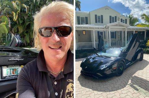 VEKKER OPPSIKT: Asbjørn Abrahamsens råskinn av en Lamborghini kan gi de fleste hakeslepp, men ta en nøyere titt på skiltet på bilen ...