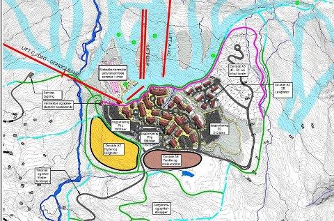 Slik ser Masterplanen for Eidfjord Resort ut. Den blir trolig noe endret før lokalpolitiske myndigheter eventuelt gir klarsignal. ILLUSTRASJON: EIDFJORD RESORT