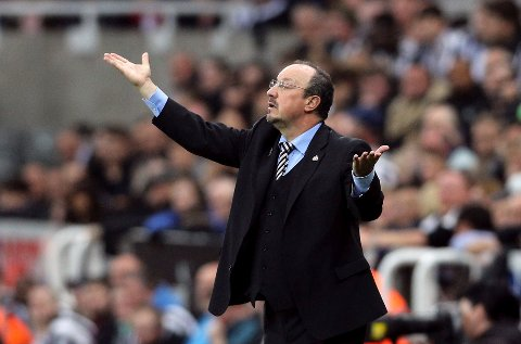 Newcastle United manager Rafael Benitez reacts during the Premier League soccer match at against Liverpool at St James' Park, Newcastle, England, Sunday Oct. 1, 2017. (Owen Humphreys/PA via AP)