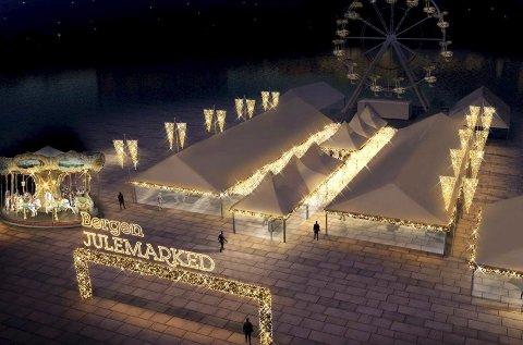 Montasjen viser hvordan det aller første Bergen julemarked vil fortone seg på Festplassen. Lurer du på noe, er det mulig å ringe Thomas Ottesen på telefon 90981414 eller Christian Hammersland på telefon 93493000.