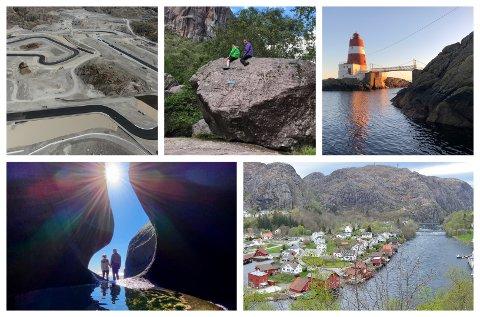 MYE Å VELGE MELLOM: Politikerne hadde mange alternativer til turistfyrtårn i Sokndal. Her er noen av dem (med klokka fra øverst til venstre): Motorcenter Norway, ruggesteinen i Blåfjelldalen, Lille Presteskjær fyr, Åna-Sira og Nesvåghålo.