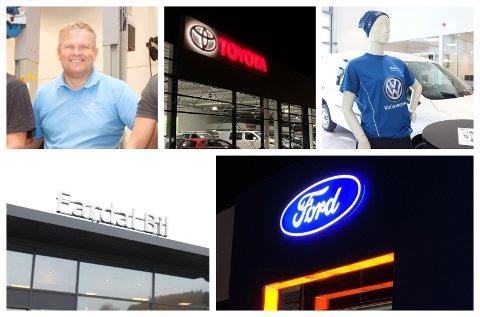 LYSE TIDER: Flere av bilmerkene som forhandles i Dalane har solgt godt første halvår. Toyota er markedsledende.
