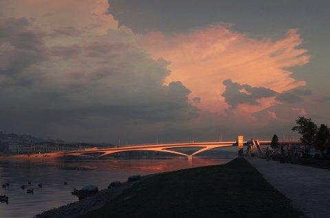 SKISSE: Dette er en av skissene av den planlagte nye bybrua.