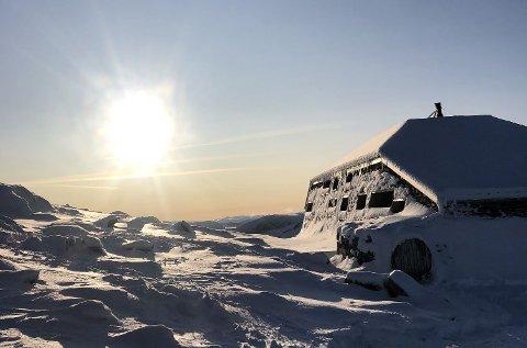KULDEN KAN HJELPE: Skålabu ligg på toppen av fjellet Skåla, 1848 meter over havet i Loen. Turlaget håpar den bitre vinteren på toppen kan ta knekken på veggedyra som har flytta inn.